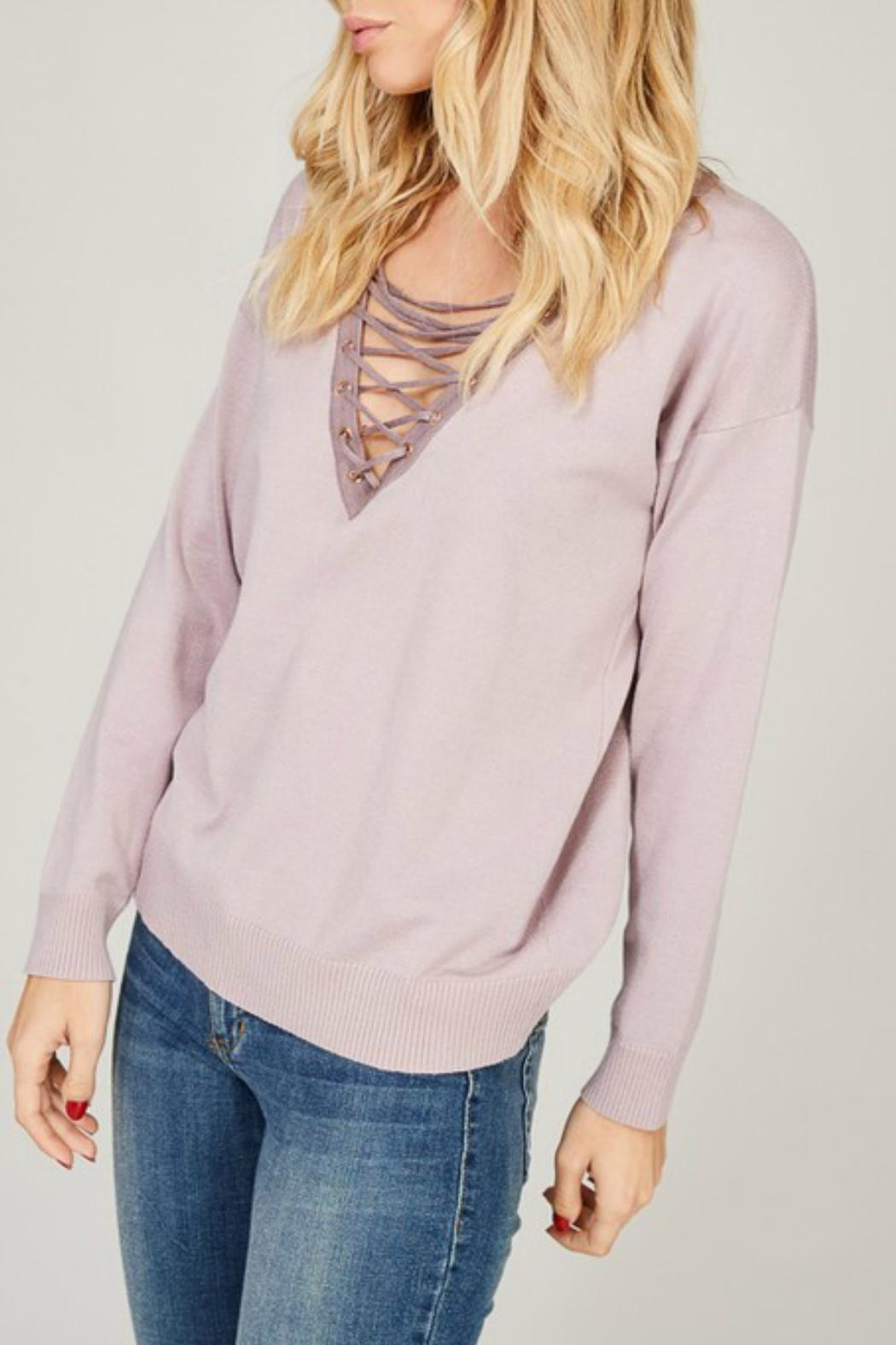 Listicle Lace Up Pullover - Main Image