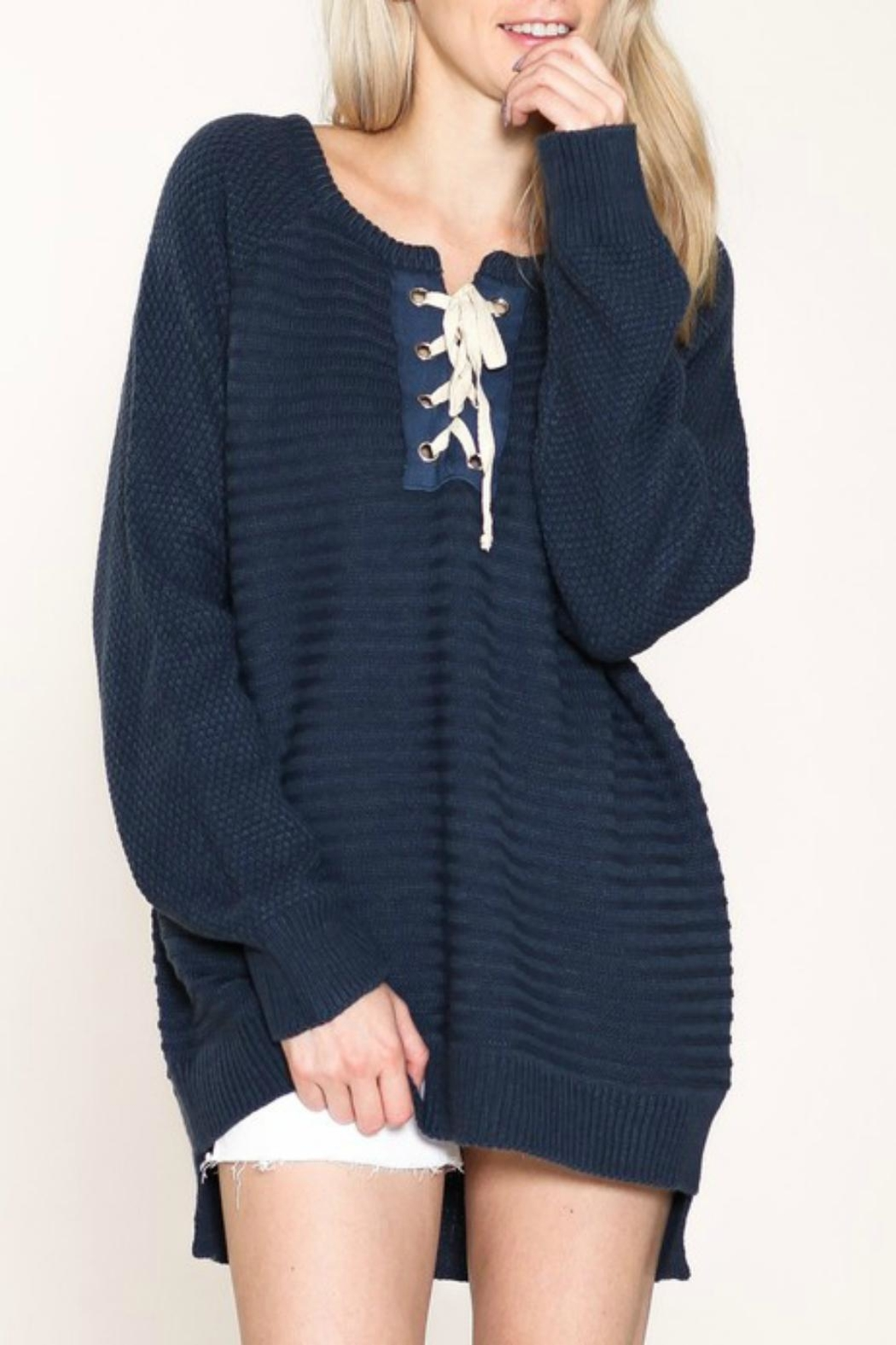Listicle Laces Bust Sweater - Main Image