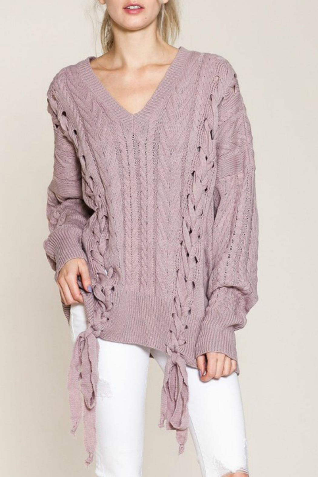 Listicle Laces Cable Sweater - Front Cropped Image