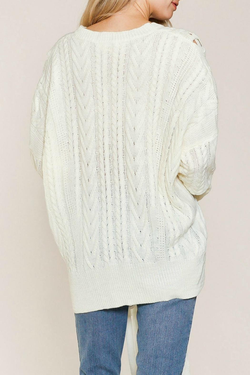 Listicle Laces Cable Sweater - Front Full Image