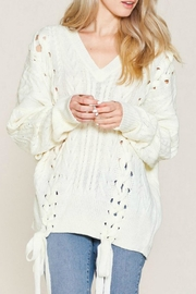 Listicle Laces Cable Sweater - Front cropped