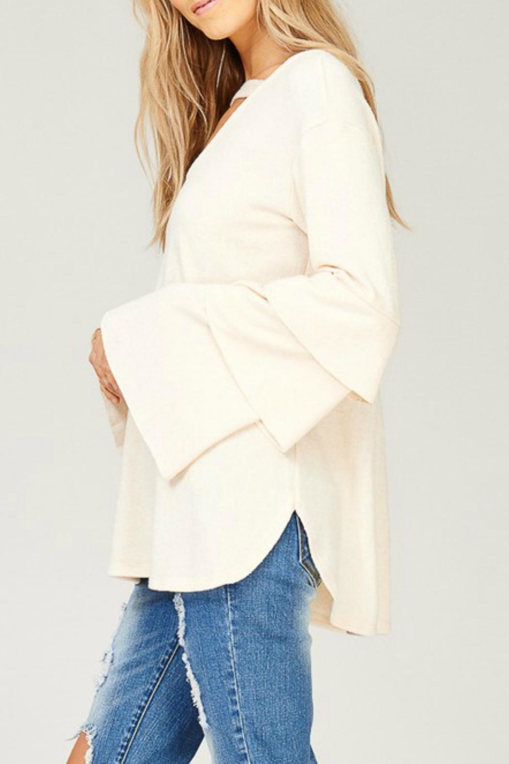 Listicle Layered Bell-Sleeve Top - Front Full Image