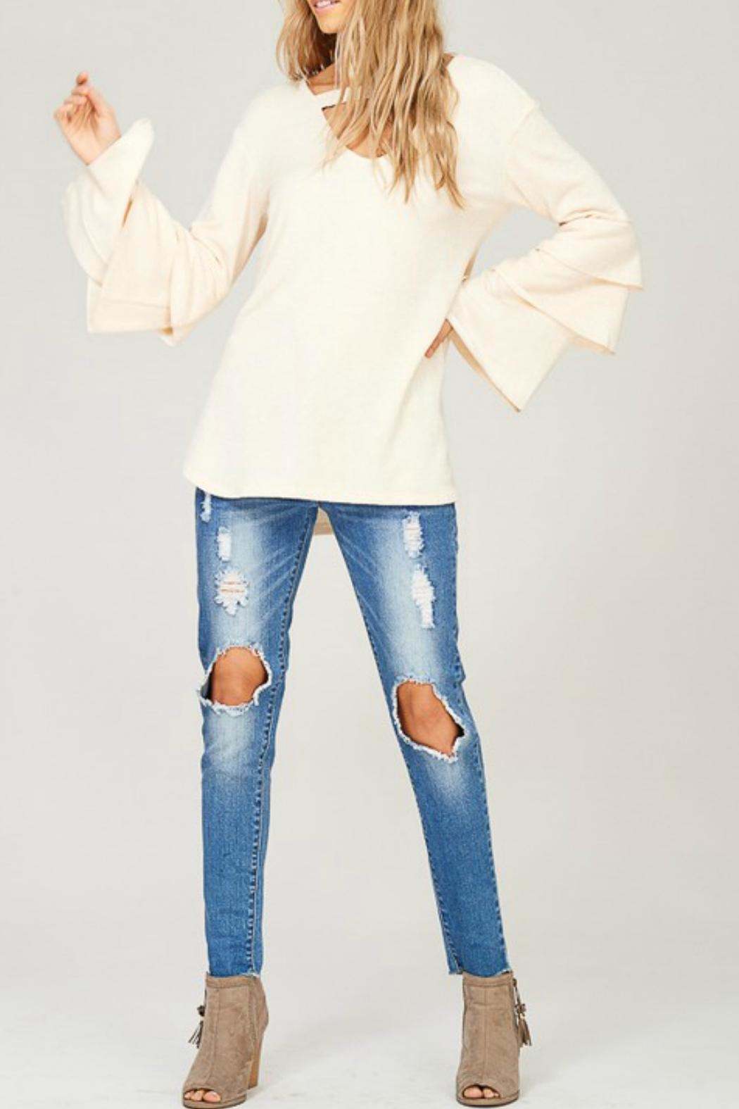 Listicle Layered Bell-Sleeve Top - Main Image