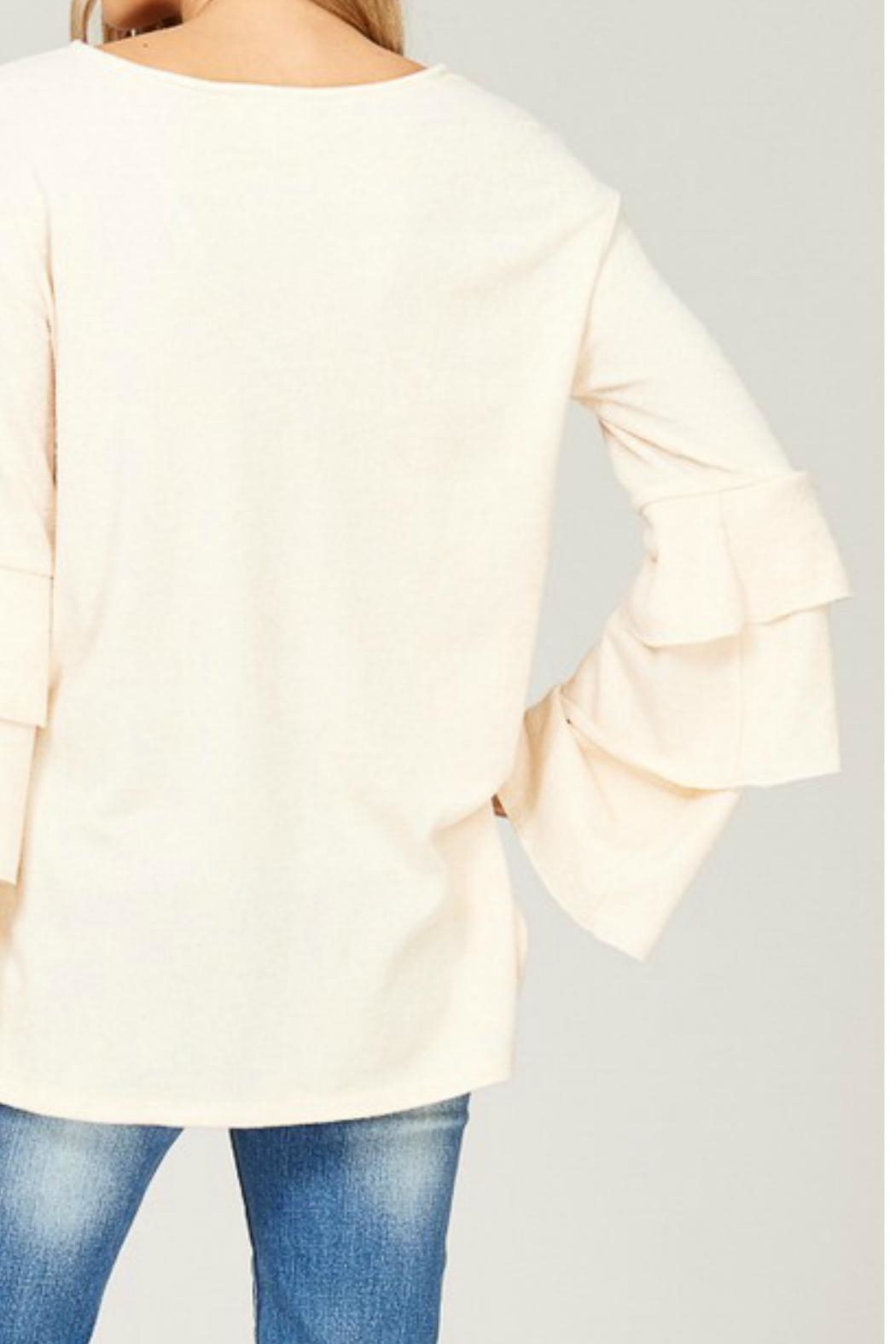 Listicle Layered Bell-Sleeve Top - Back Cropped Image