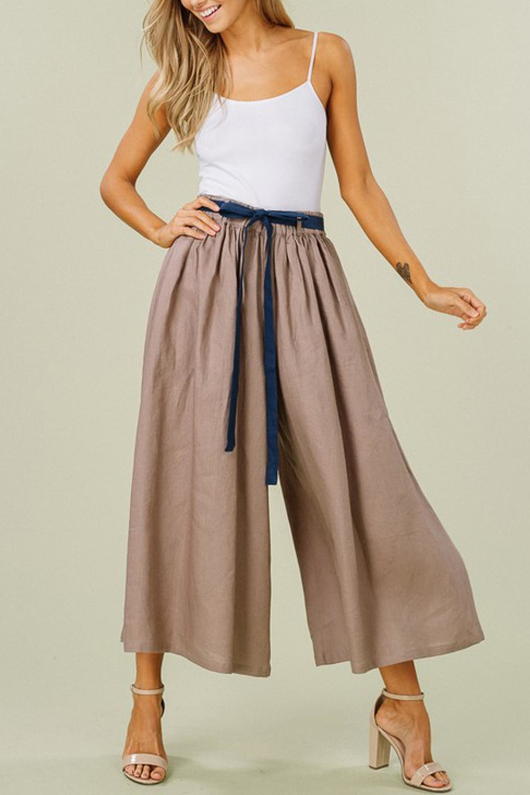 Listicle Linen Wide-Leg Culottes - Front Full Image