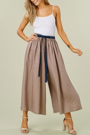 Listicle Linen Wide-Leg Culottes - Front full body