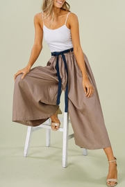 Listicle Linen Wide-Leg Culottes - Front cropped