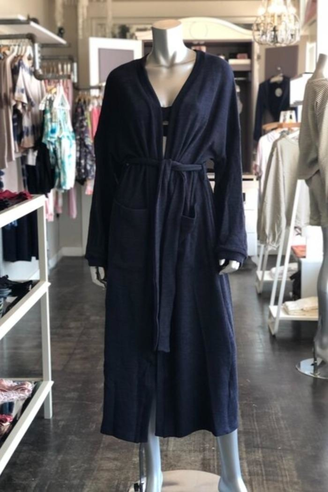 Listicle Long Knit Robe - Front Full Image