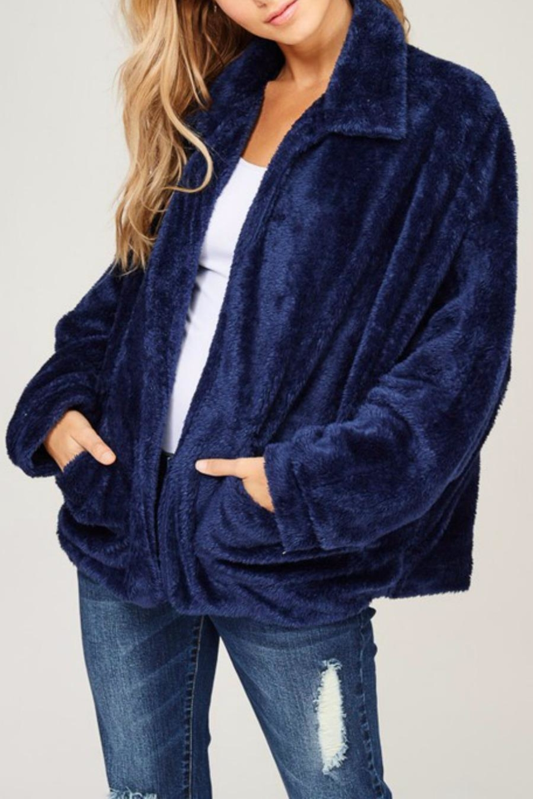 Listicle Navy Faux Fur - Front Full Image