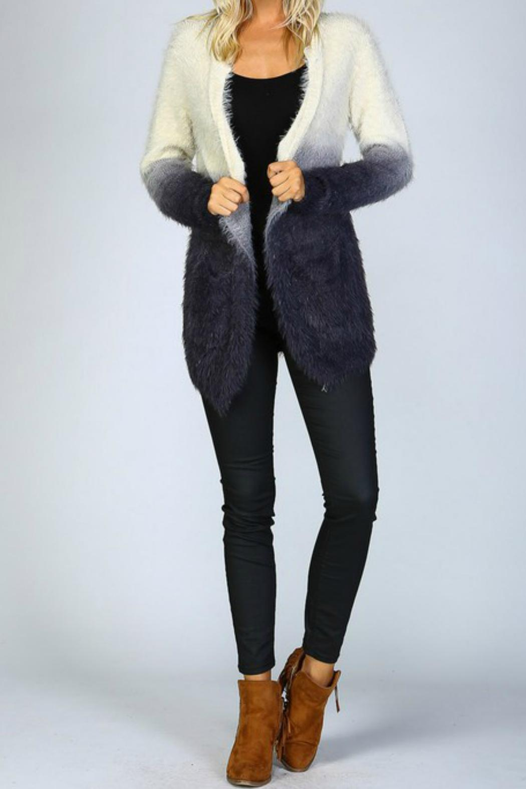 Listicle Ombre Shaggy Cardigan - Back Cropped Image