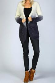 Listicle Ombre Shaggy Cardigan - Back cropped
