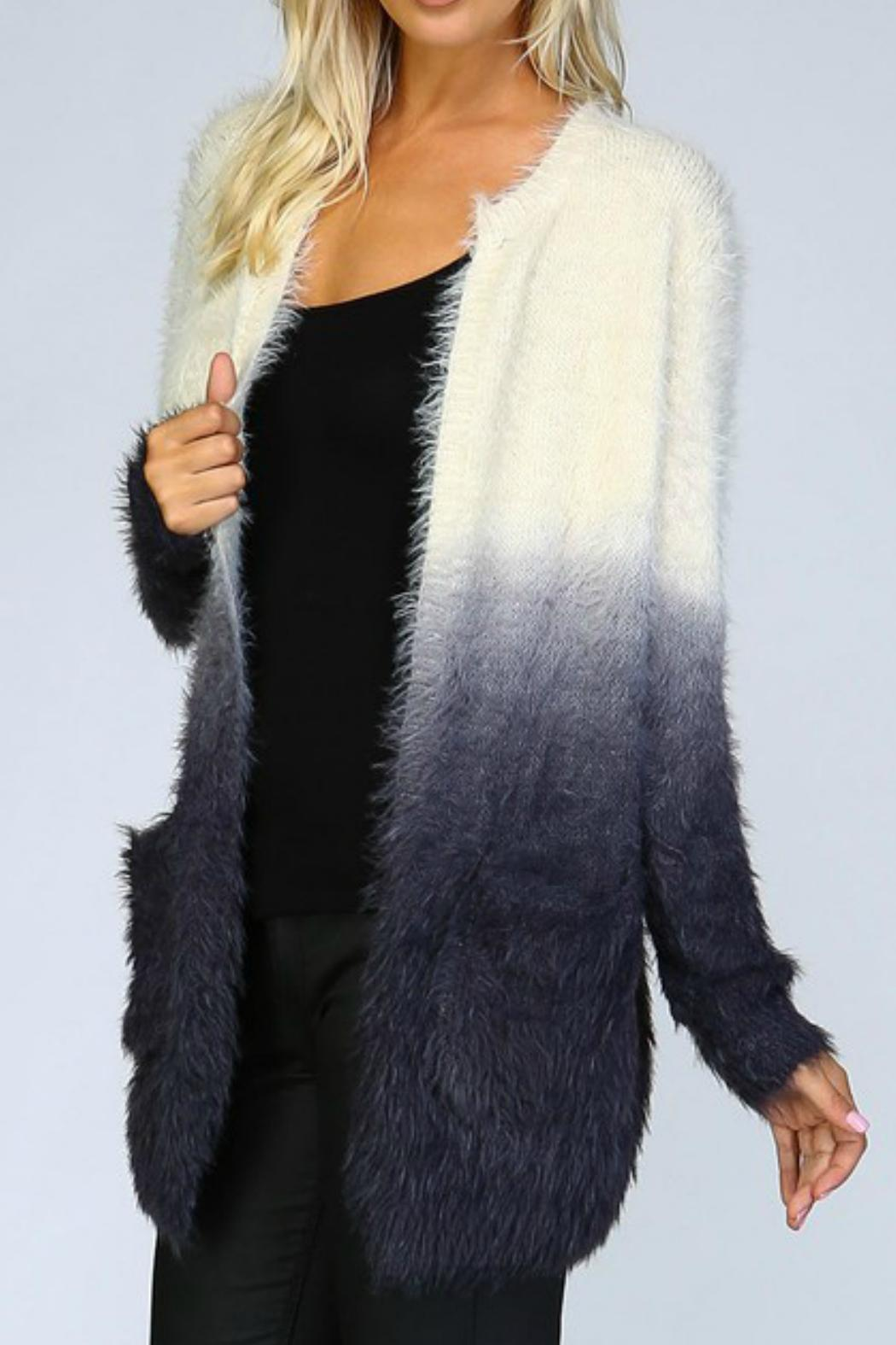 Listicle Ombre Shaggy Cardigan - Side Cropped Image