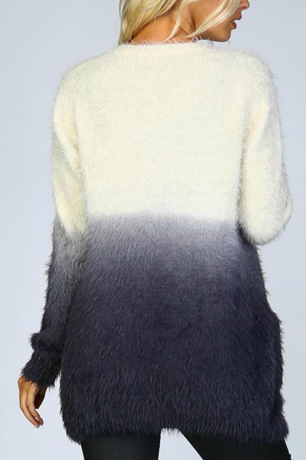 Listicle Ombre Shaggy Cardigan - Front Full Image
