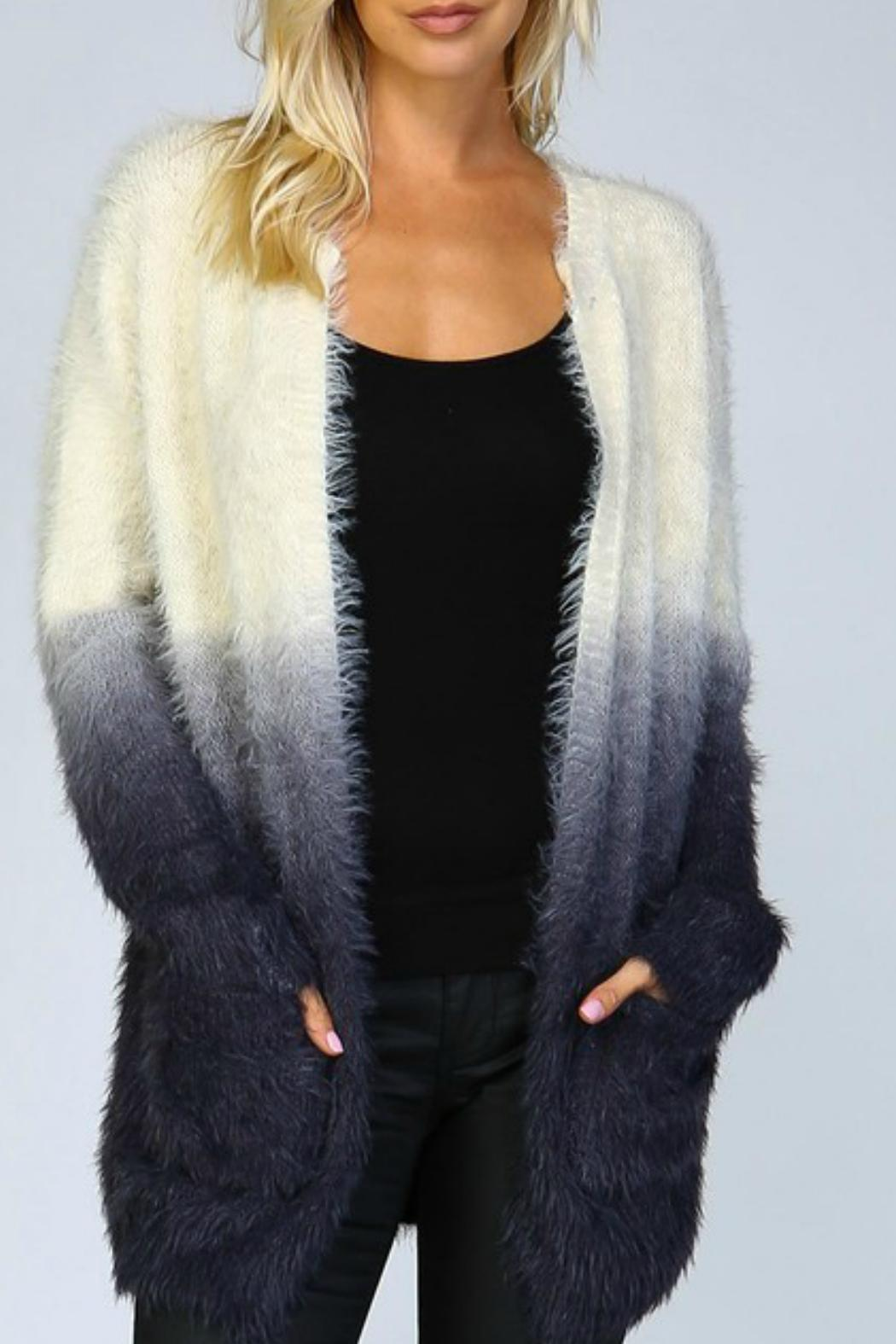 Listicle Ombre Shaggy Cardigan - Main Image