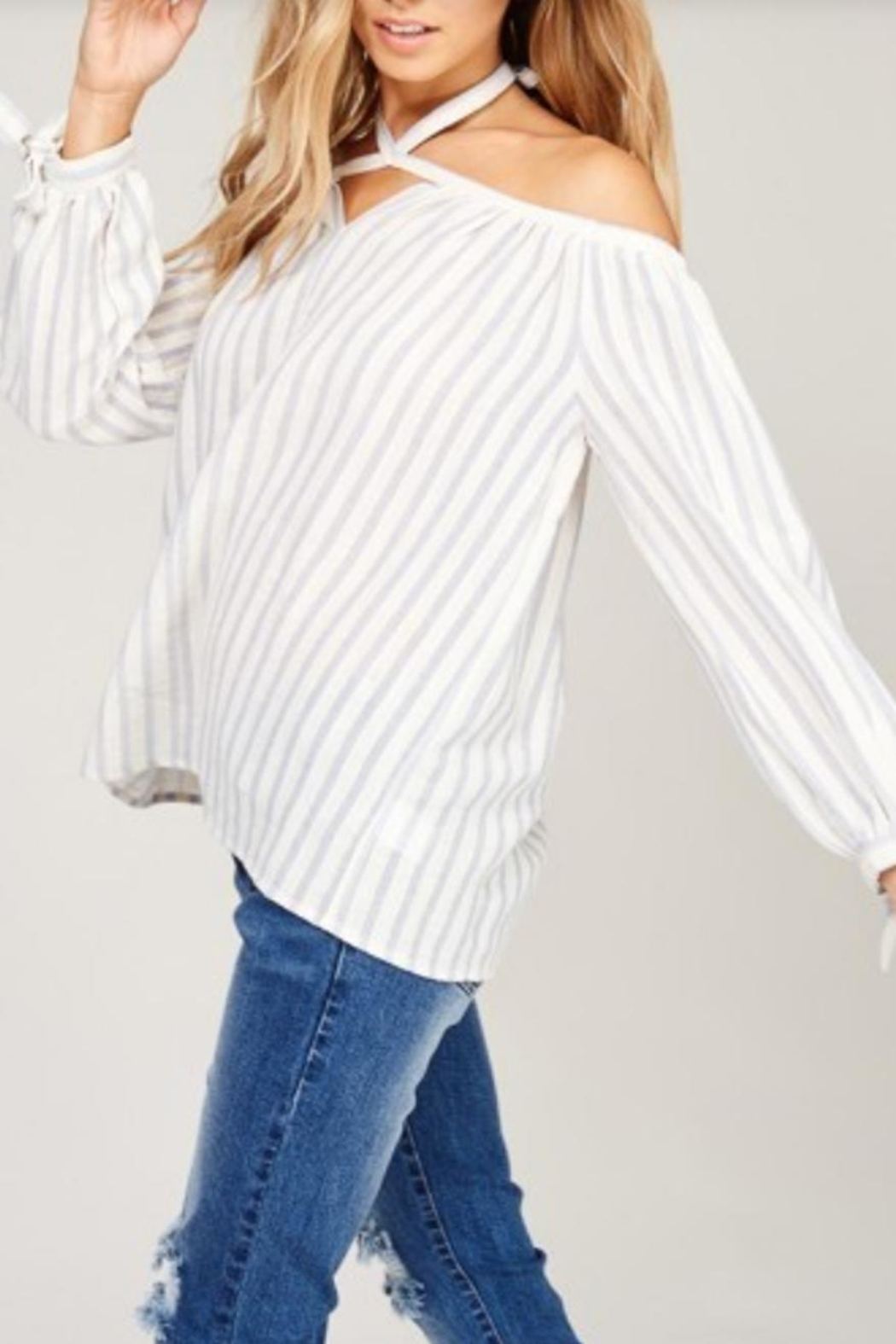 Listicle Open Shoulder Top - Front Full Image