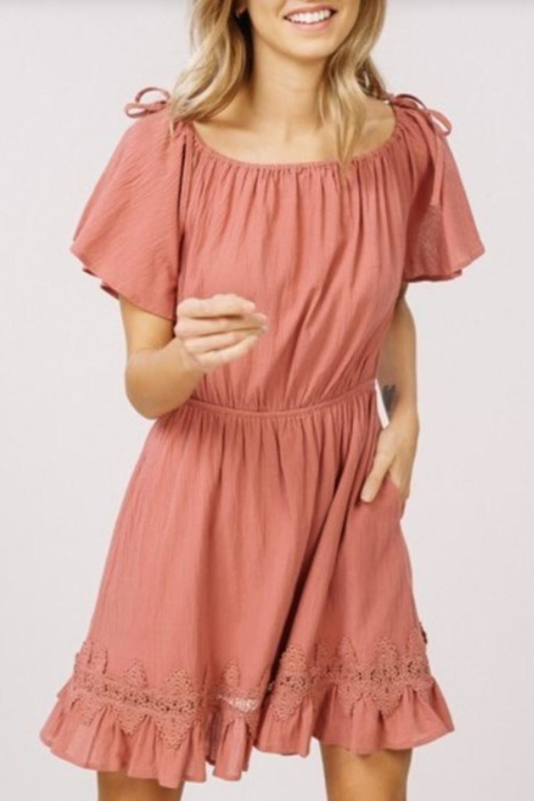 Listicle Ruffled Lace Dress - Front Full Image
