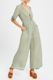 Listicle Sage Linen Jumpsuit - Product Mini Image