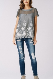 Listicle Sheer-Contrast Embroidered Top - Product Mini Image