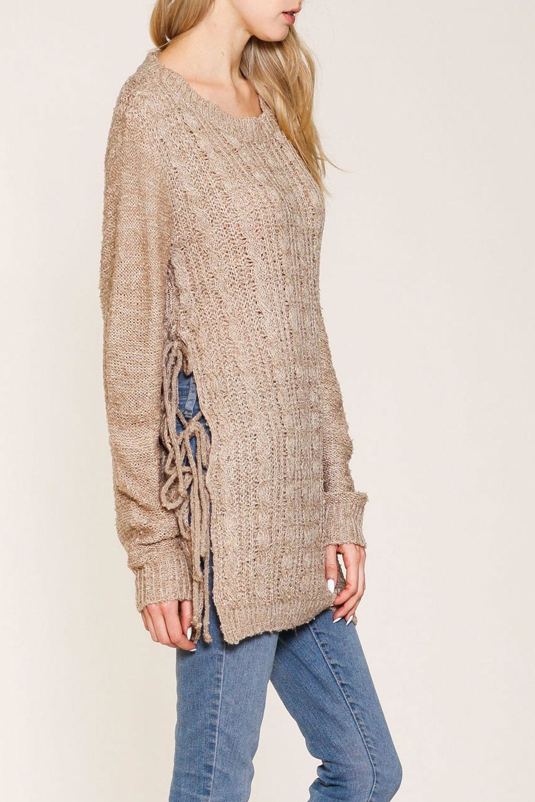 Listicle Shelby Sweater Taupe Top - Side Cropped Image