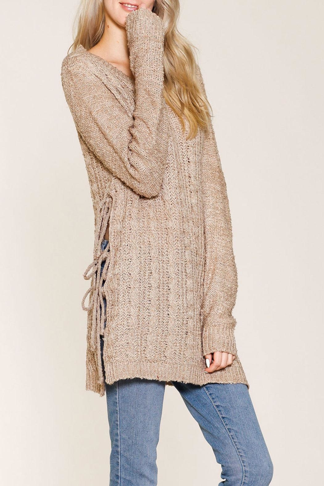 Listicle Shelby Sweater Taupe Top - Front Full Image