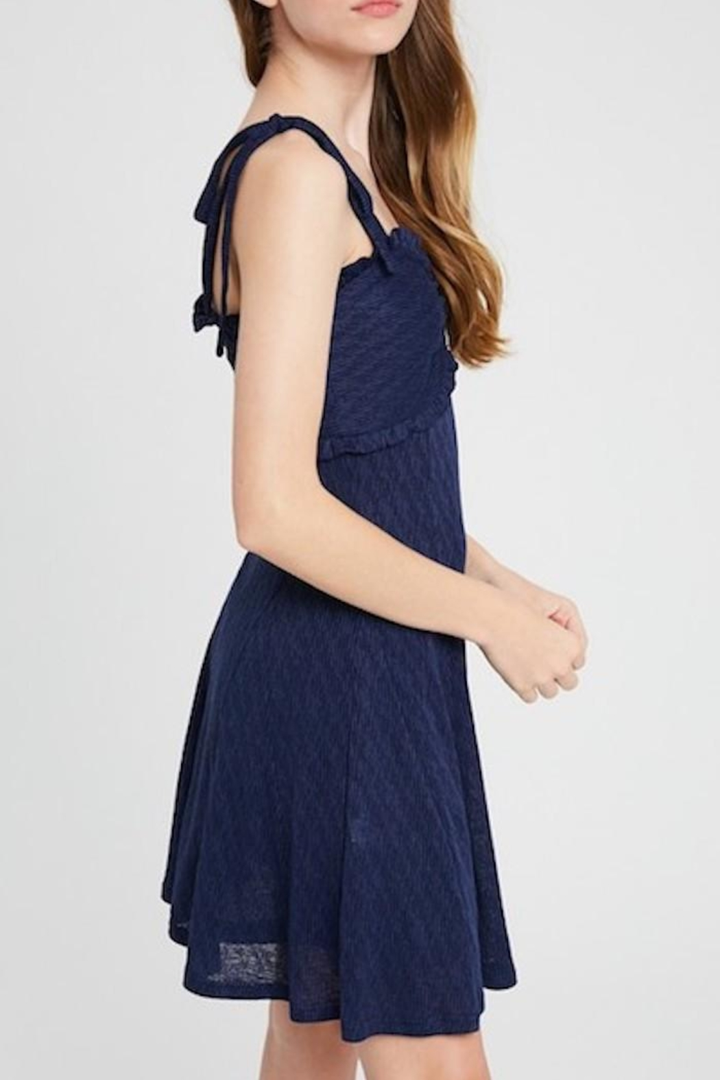 Listicle Shoulder Tie Dress - Side Cropped Image