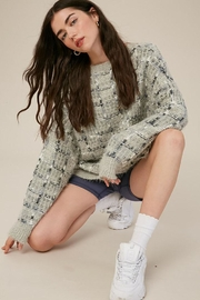 Listicle Soft Tweed Texture Pullover Knit Sweater - Product Mini Image