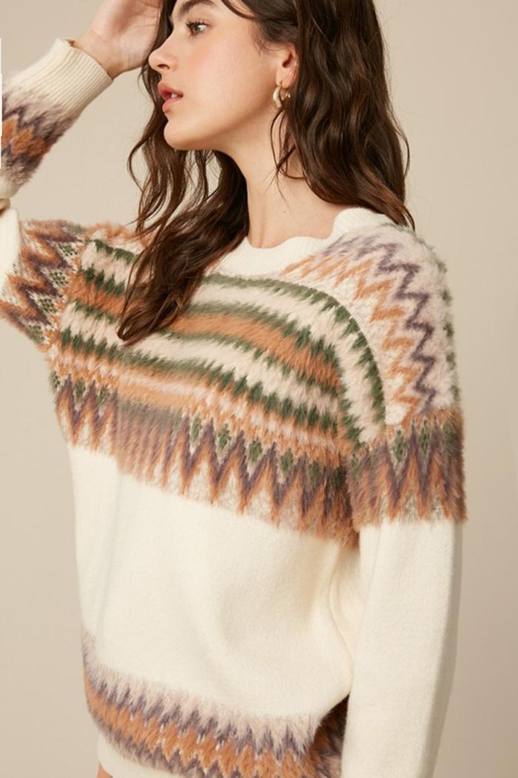 Listicle Super Soft Fair Isle Knit Sweater Jumper - Side Cropped Image