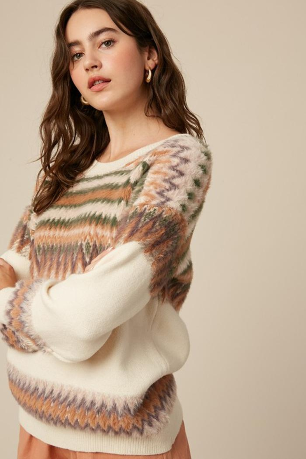 Listicle Super Soft Fair Isle Knit Sweater Jumper - Front Full Image