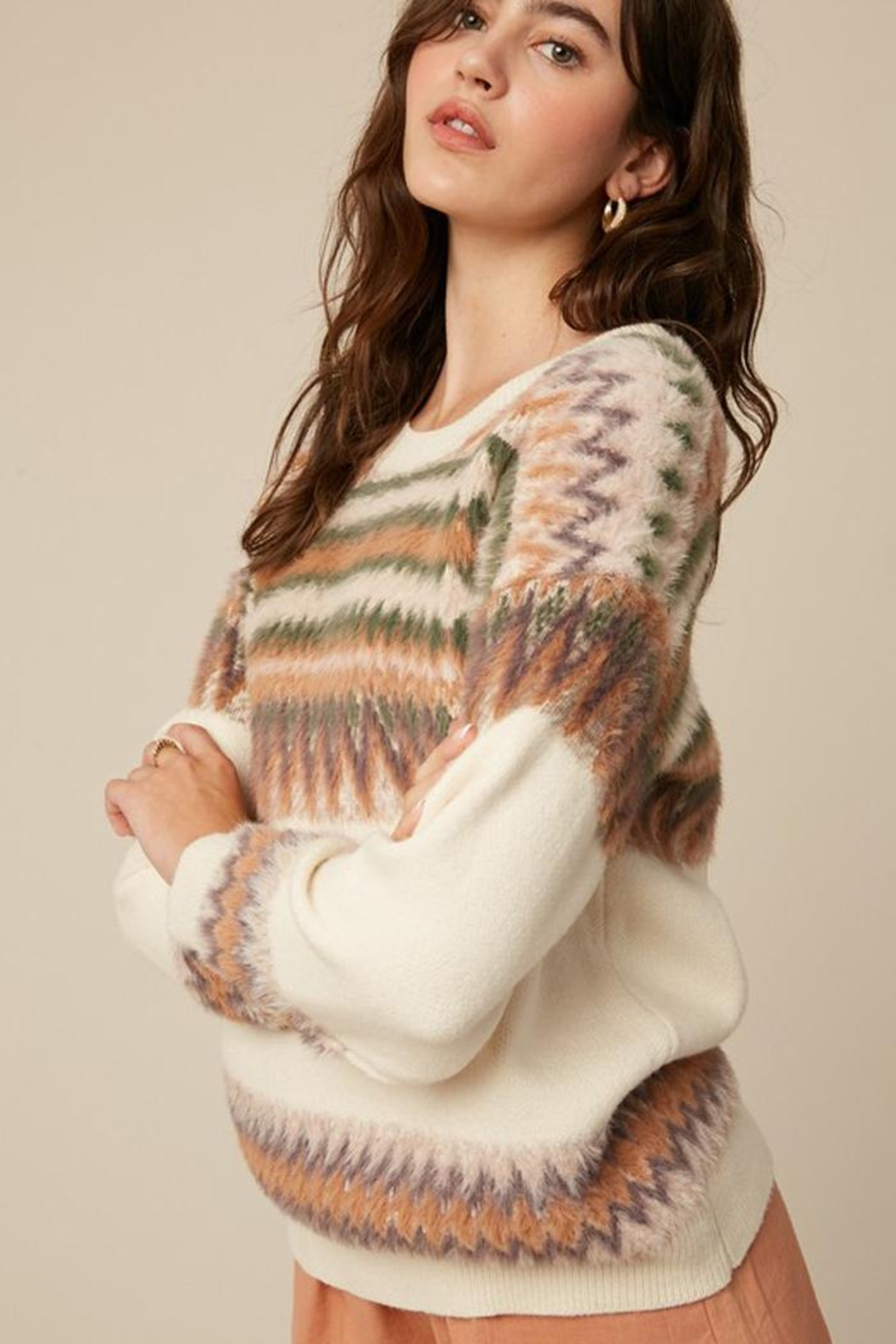 Listicle Super Soft Fair Isle Knit Sweater Jumper - Back Cropped Image