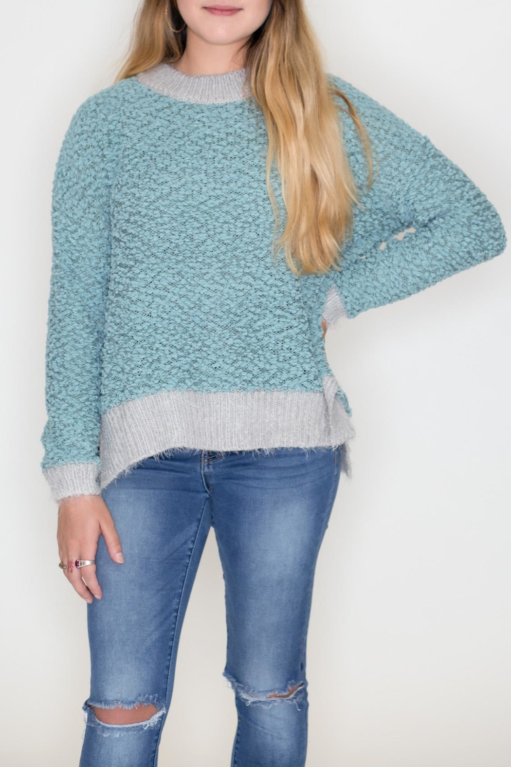 Listicle Two-Tone Popcorn Sweater - Main Image