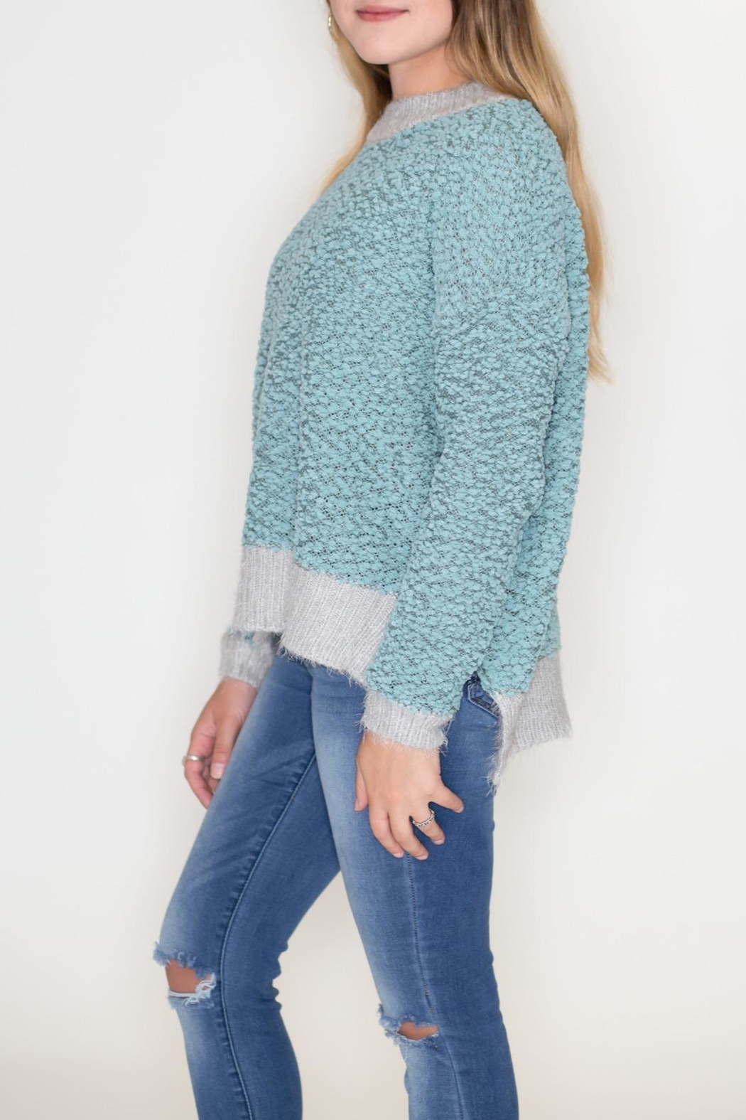 Listicle Two-Tone Popcorn Sweater - Front Full Image