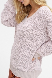 Listicle V-Neck Popcorn Sweater - Back cropped