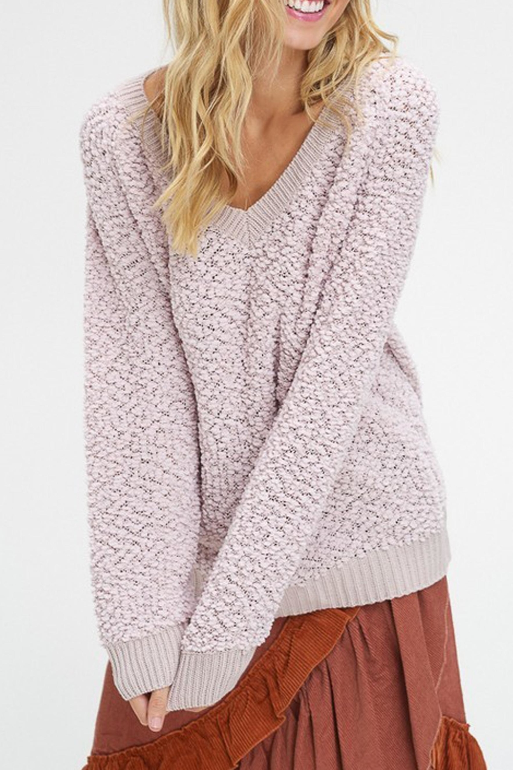 Listicle V-Neck Popcorn Sweater - Front Full Image