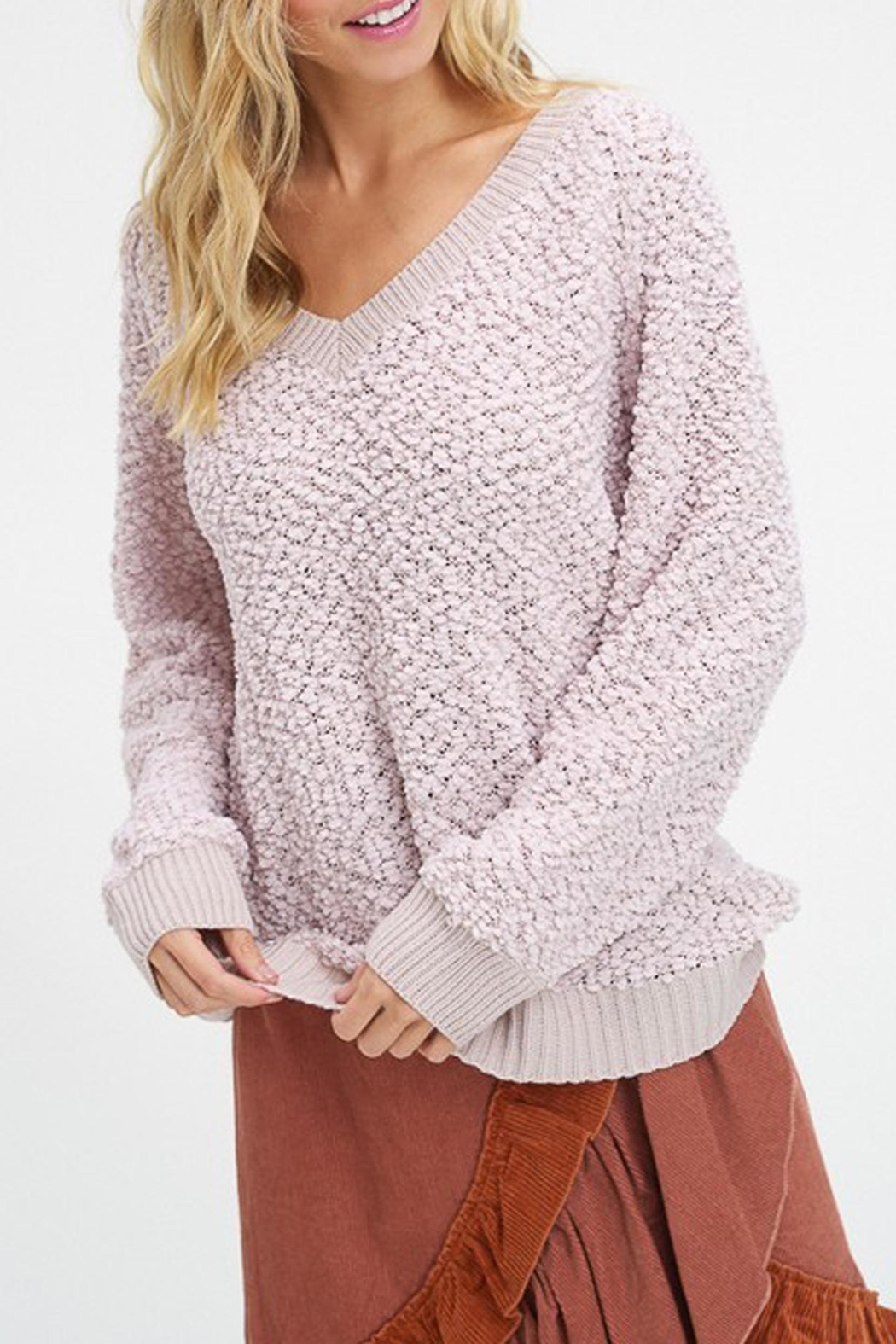 Listicle V-Neck Popcorn Sweater - Front Cropped Image