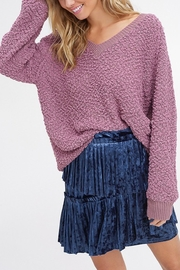 Listicle V-Neck Popcorn Sweater - Front cropped