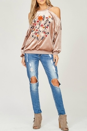 Listicle Velvet Open-Shoulder Sweatshirt - Product Mini Image