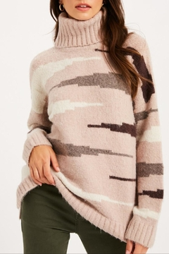 Listicle Zebra Print Turtleneck - Product List Image