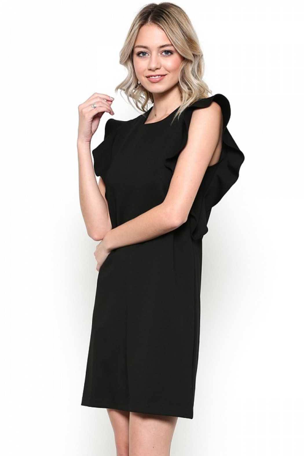 Esley Little Black Dress Featuring Cascading Ruffle Sleeve Detail - Front Full Image