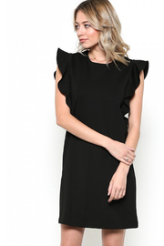 Esley Little Black Dress Featuring Cascading Ruffle Sleeve Detail - Front cropped