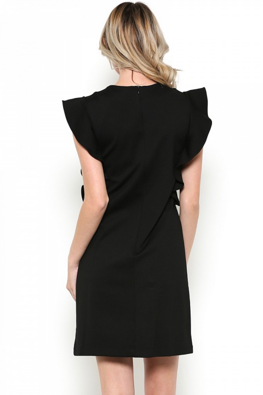 Esley Little Black Dress Featuring Cascading Ruffle Sleeve Detail - Side Cropped Image