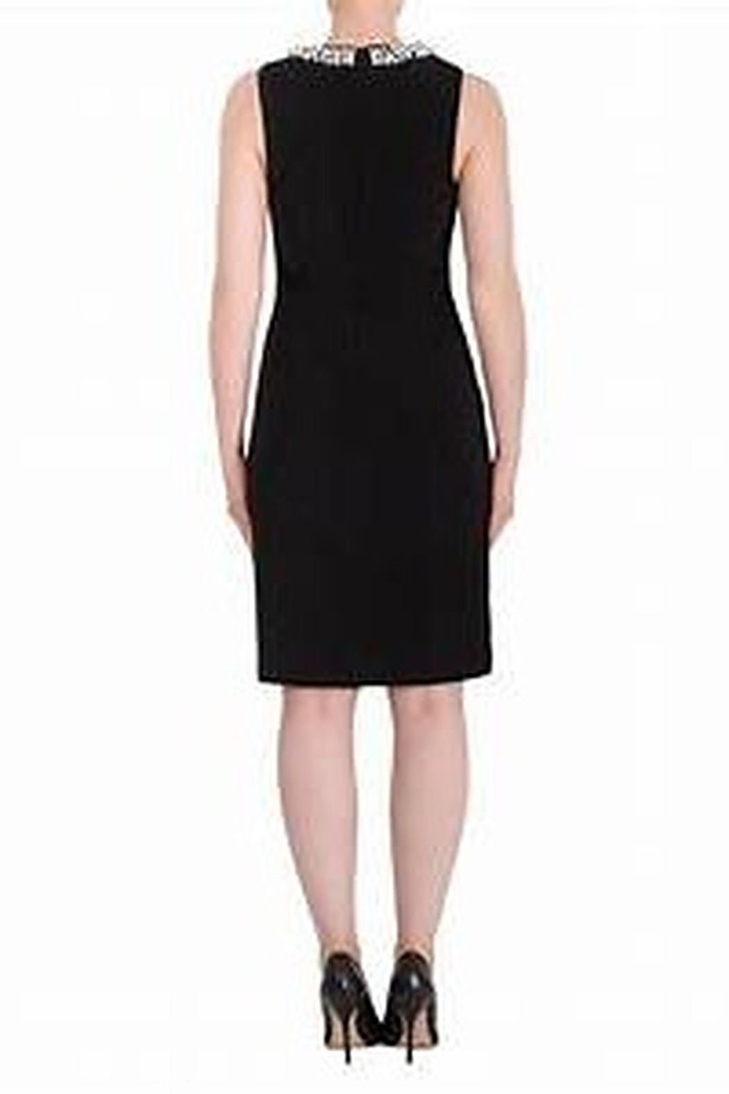 Joseph Ribkoff little black dress with pearl accent at neckline - Front Full Image