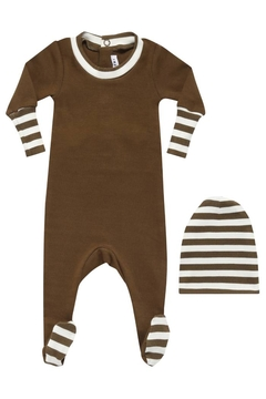 Little Parni  Stripped Cuff Onesie Footie with Beanie | Premium wear Cotton Sleepwear - Alternate List Image