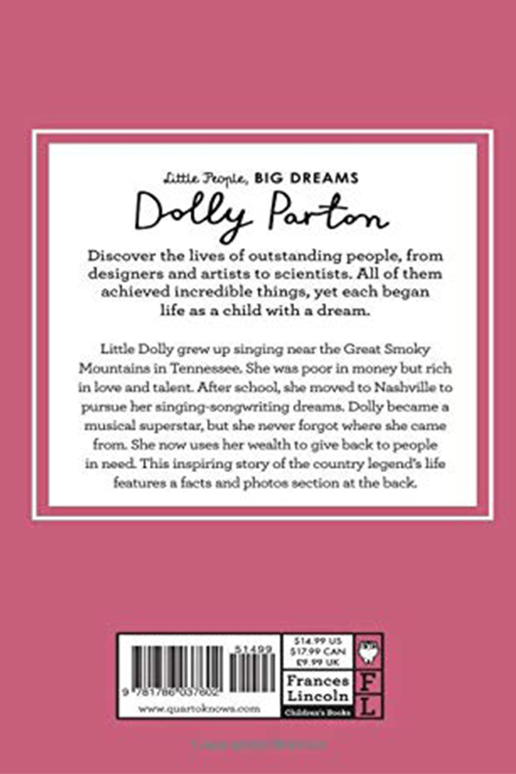Hachette Book Group Little People Big Dreams - Dolly Parton - Front Full Image