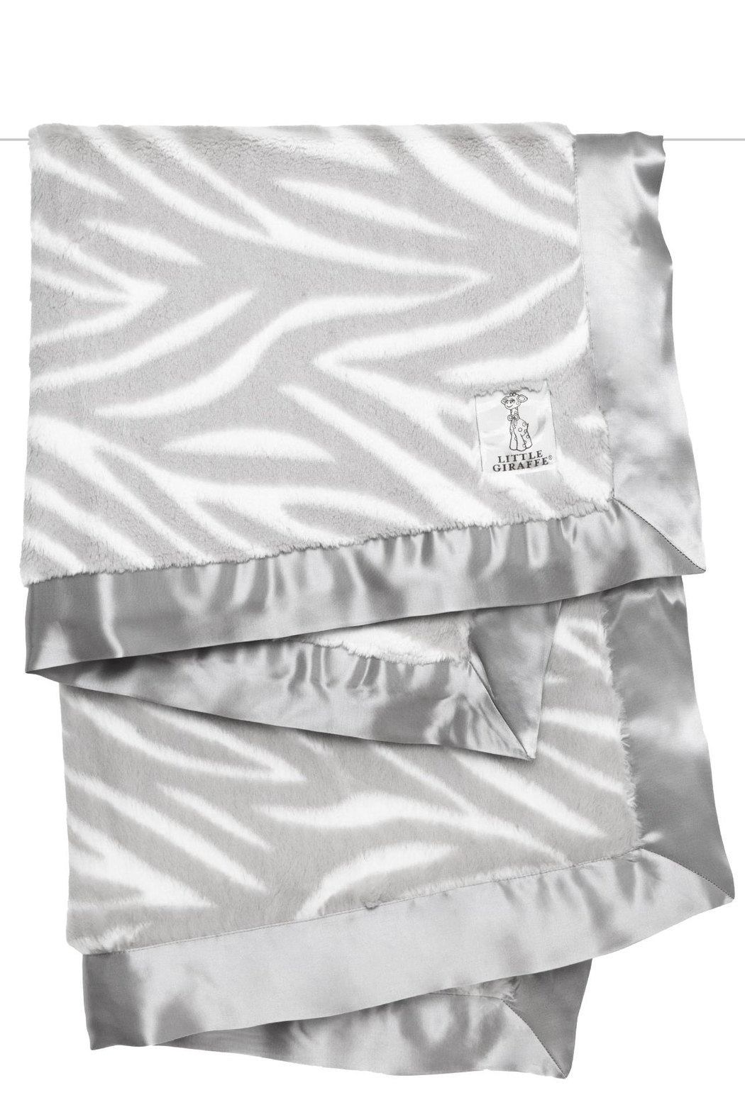 LITTLE GIRAFFE Grey Zebra Blanket - Main Image