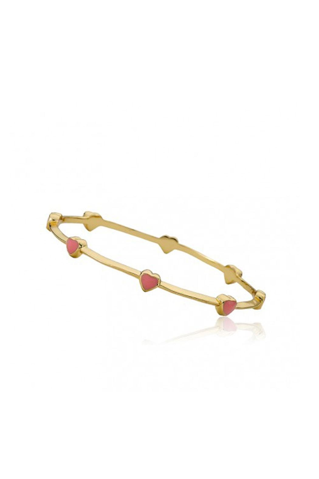 Little Miss Twin Stars Gold Dainty Hearts Bangle - Front Cropped Image