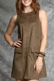 Little Town Faux Suede Dress - Front cropped