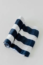 Little Unicorn Navy Stripe Swaddle - Front cropped
