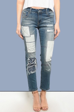 LITZ Patchwork-Distressed Skinny Jeans - Product List Image