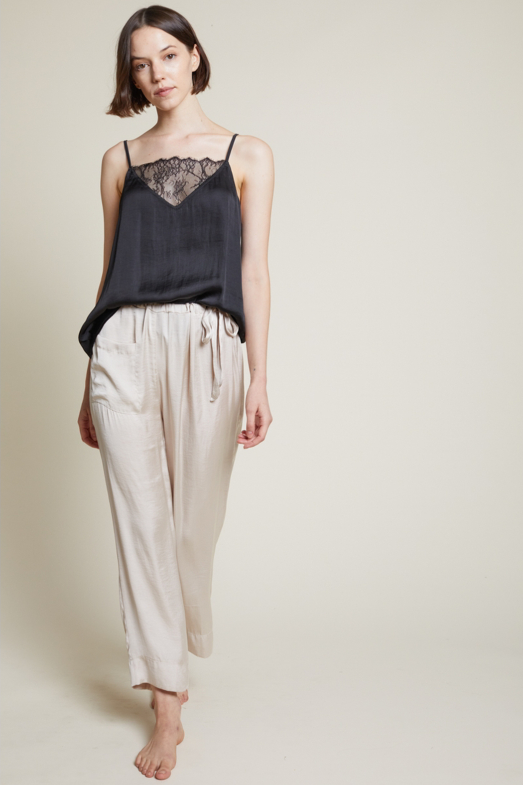 Grade and Gather Liv Satin Lounge Pants - Side Cropped Image