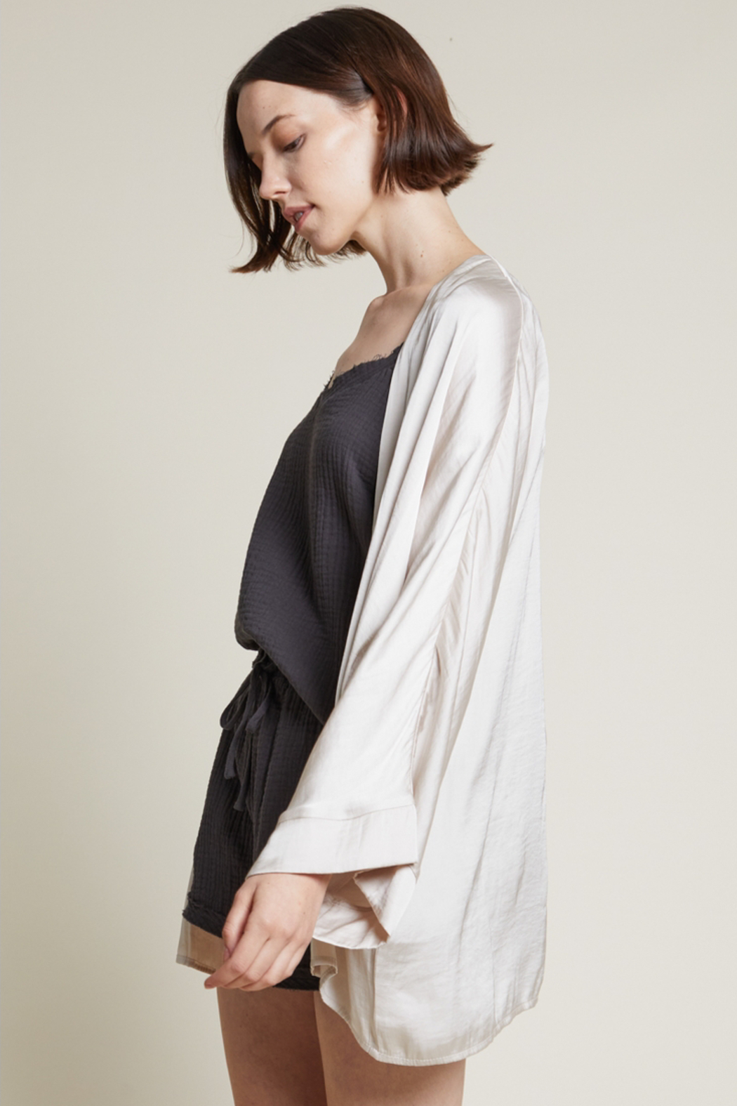 Grade and Gather Liv Satin Robe - Back Cropped Image